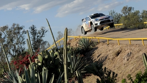 Volkswagen driver Sebastien Ogier en route to victory in Mexico
