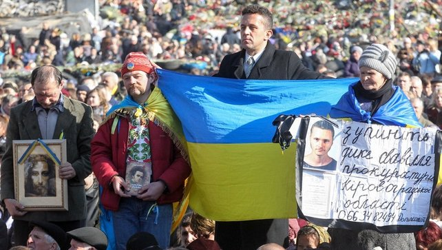 Ukrainians attend a rally for 'Single Ukraine' on Independence Square in Kiev (Pic: EPA)