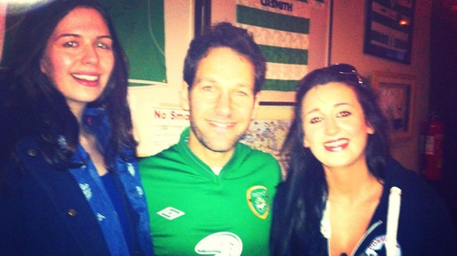 Paul Rudd with fans in Donegal