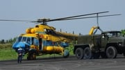 A helicopter being prepared in Vietname to go on a new search for the missing Malaysia Airlines flight