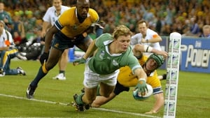 O'Driscoll scored a stunning try against the Aussies in the 2003 Rugby World Cup