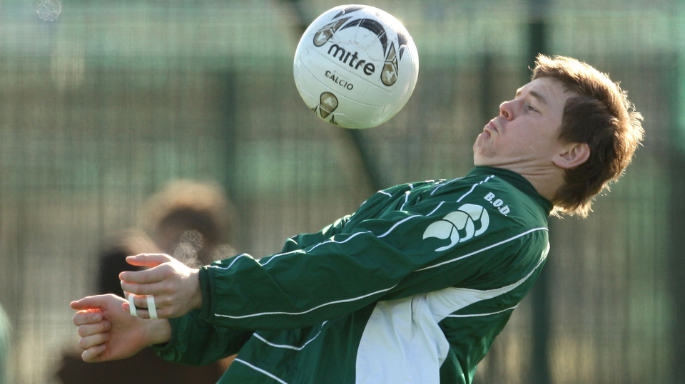 Practising his soccer skills during an Ireland training session in 2008