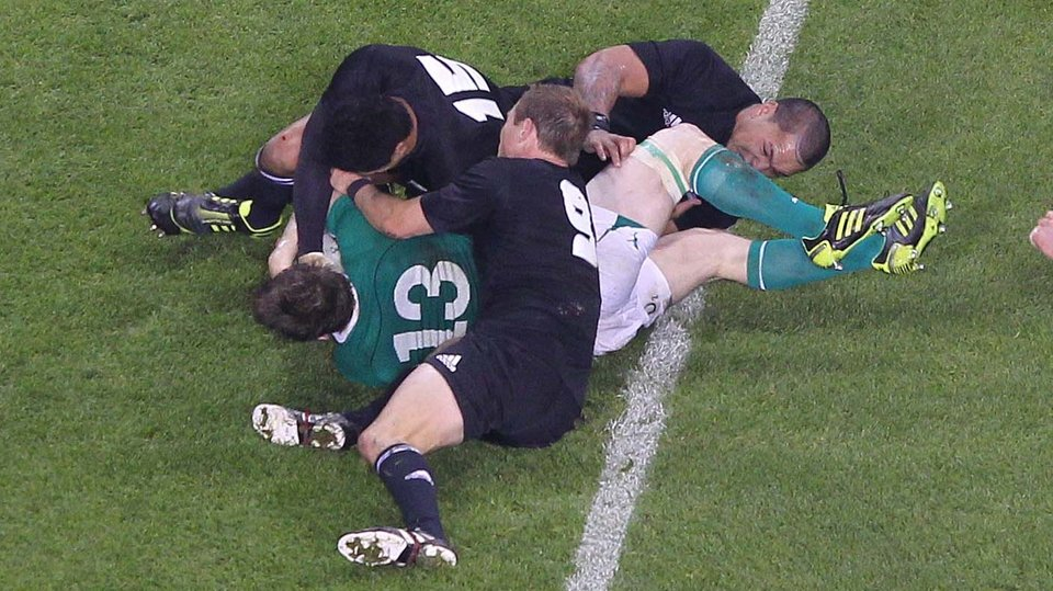 Another moment of magic - O'Driscoll scores a try against New Zealand at the Aviva Stadium in 2010