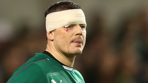 A common sight - Warrior O'Driscoll played on through the pain on many occasions, including the 2013 Test against Australia at Lansdowne Road