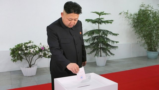 Kim Jong-Un cast his ballot at a polling station in Pyongyang (Pic: EPA)