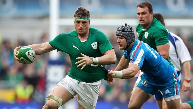 Jamie Heaslip in action against Italy