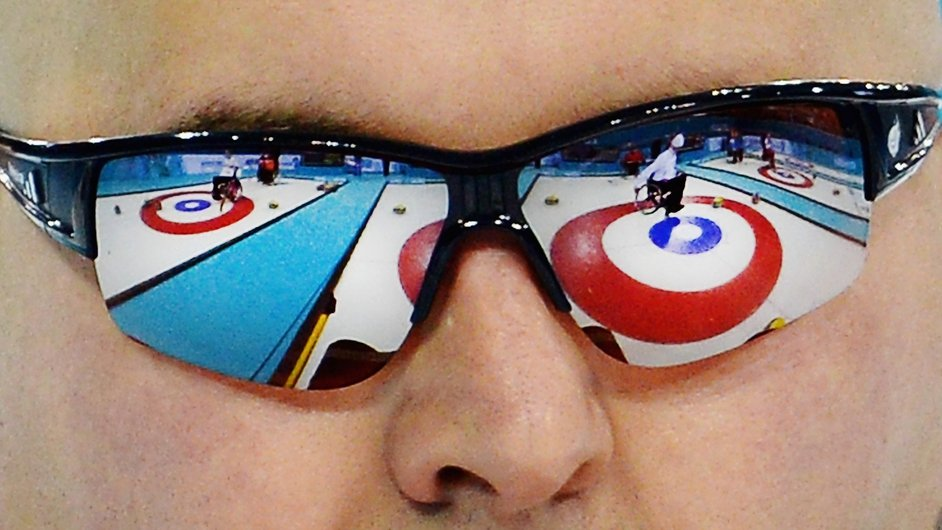 Gregor Ewan of Great Britain competes in the Round Robin Session 7 during day four of Sochi 2014 Paralympic Winter Games at Ice Cube Curling Center