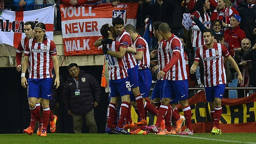 Atletico players celebrate Diego Costa's goal