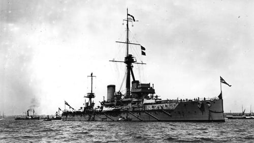 British battleship the HMS Dreadnought at sea in 1909