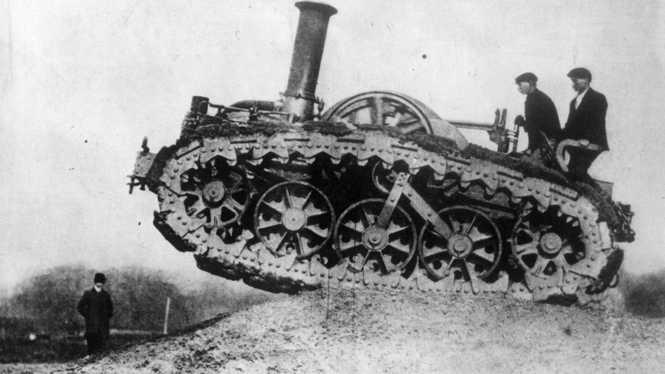 Tanks used in WWI were descendants of vehicles like this early caterpillar-track farm machine, built by Rustin and Hornsby of Lincoln and used in England