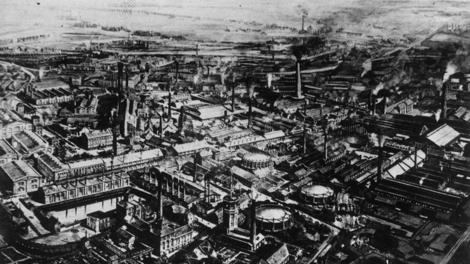 The Krupp steelworks and arms factory in Essen