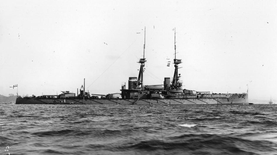 April 1913: The battleship, HMS Collingwood at sea