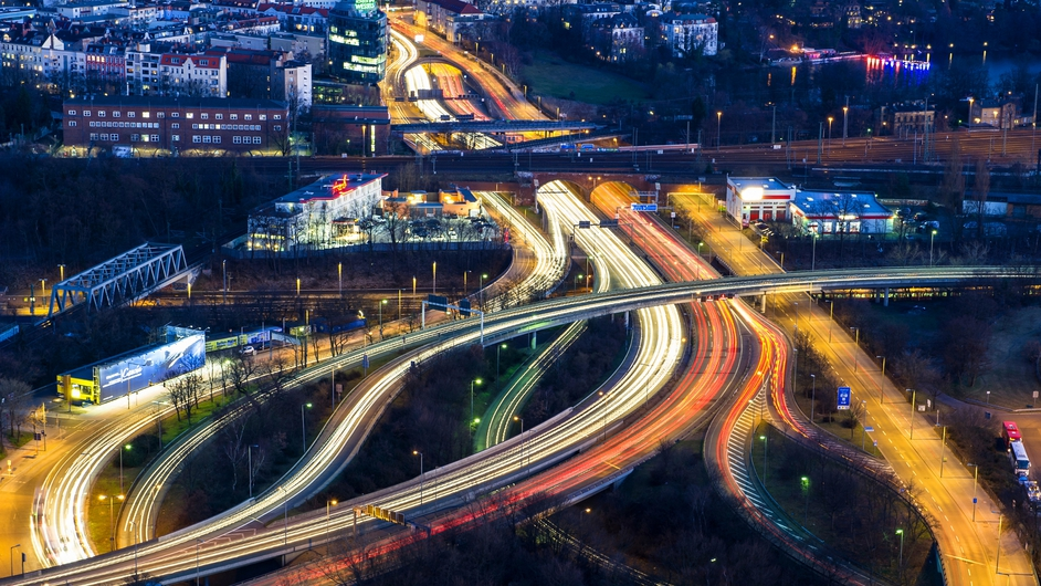 A long exposure shows cars' lights as heavy traffic passes on the motorway around Berlin (Pic: EPA)