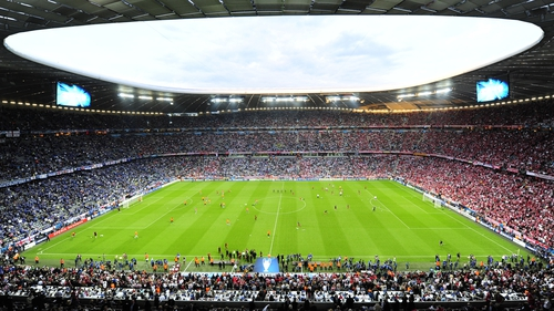 A general view of the Allianz Arena in Munich. UEFA have begun proceedings against Bayern Munich over one banner hung at the stadium, and are investigating a second