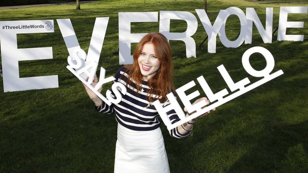 Angela Scanlon in Dublin today to launch Three campaign