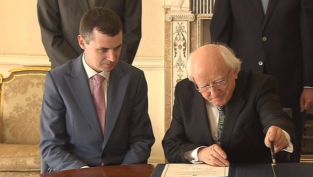 Rónán Ó Domhnaill received his seal of office from President Michael D Higgins