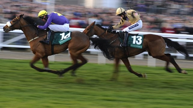Robbie McNamara rides Silver Concorde (left) to win the Champion Bumper