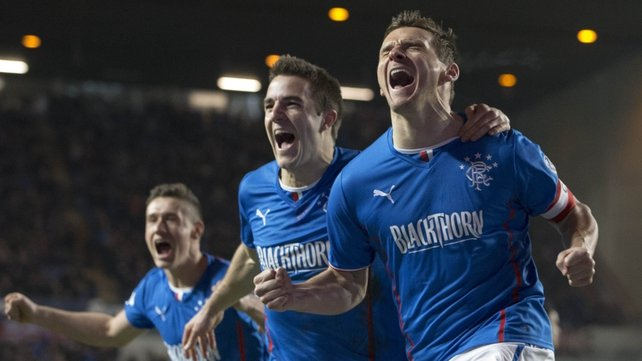 Rangers Lee McCulloch (r) celebrates his first goal with Andrew Little