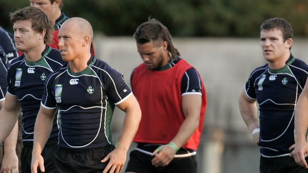 Peter Stringer (second left) played many tests with Brian O'Driscoll (left) and Gordon D'Arcy (right)