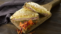 Croque Monsieur with Carrot and Beetroot Salad - This is a sophisticated toasted ham sandwich- very popular in France. The cheesy topping is what makes this sandwich extra tasty. Served alongside a carrot and beetroot salad this dish is ideal for a casual lunch.