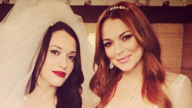 Kat Dennings and Lindsay Lohan on the set of 2 Broke Girls