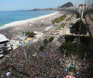 Up to three million people gathered on Rio de Janeiro's Copacabana beach to hear the Pope celebrate mass as part of World Youth Day