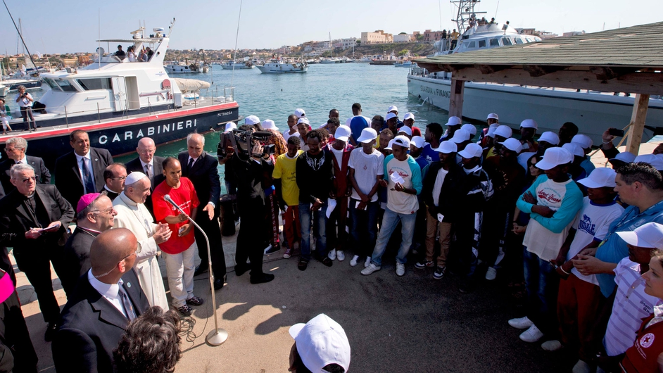 He delivers a speech to migrants during his visit to the island of Lampedusa
