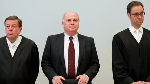 Uli Hoeness (centre) had admitted evading €27.2m in taxes on income earned in secret Swiss bank accounts