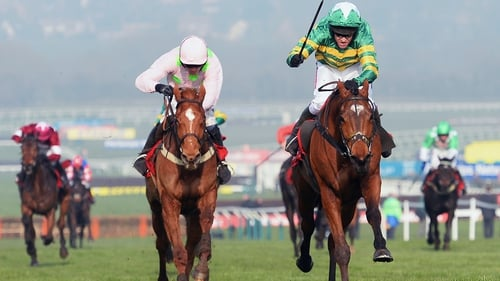 Barry Geraghty on More of That (r) wins from Ruby Walsh on Annie Power in the Ladbrokes World Hurdle