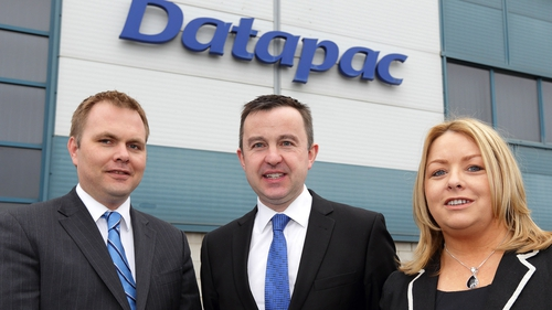 Patrick Kickham, Datapac director, pictured with Minster of State Brian Hayes and Clara Quigley, Datapac's sales manager