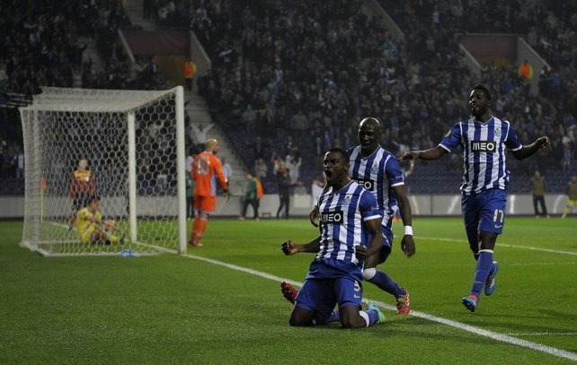 Porto's Colombian forward Jackson celebrates after scoring