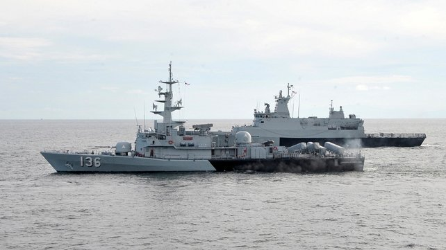 Malaysian navy vessels take part in the search for the plane missing since last Saturday (Pic: EPA)