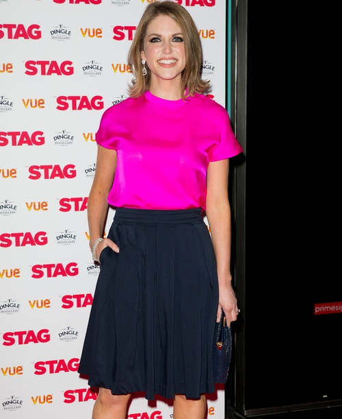 Amy Huberman wearing a top and skirt by Irish brand Lennon Courtney