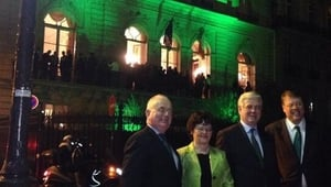 Tánaiste Eamon Gilmore at the Irish embassy in Paris