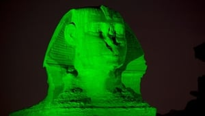 Egypt's Sphinx is among the landmarks sporting Irish colours this weekend