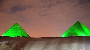 The pyramids were also lit up with green to mark the occasion