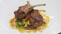 Rack of Lamb, spiced aubergine, spring vegetables with a lamb jus + herb oil - Edel Byrne's key ingredient recipe from Heat 3 of MasterChef 2014