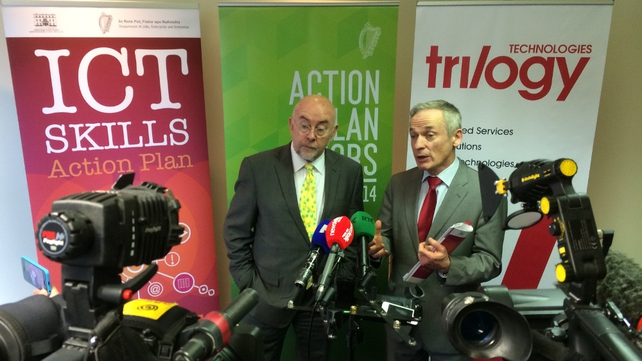 Ministers Ruairí Quinn and Richard Bruton pictured at the launch of the Government's ICT Skills Action Plan
