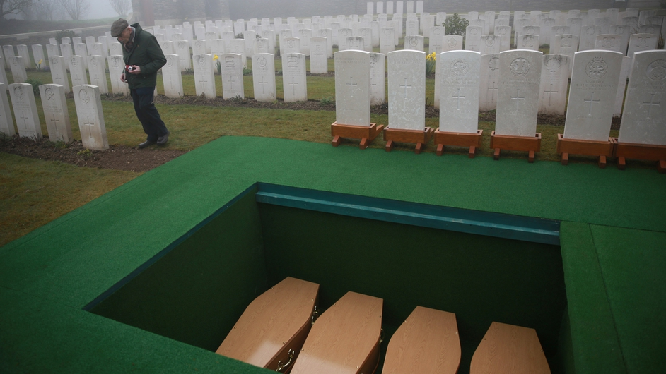 The other soldiers were buried in six other plots side by side