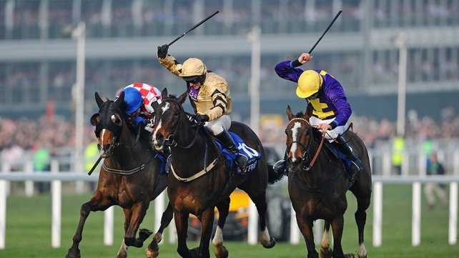 Davy Russell claimed the Gold Cup aboard Lord Windermere (right)