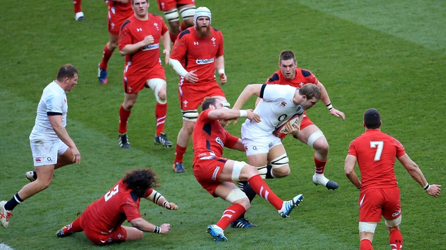 Joe Launchbury in action against Wales