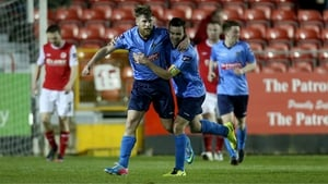 UCD's Chris Mulhall celebrates with Robbie Benson after scoring their first goal of the game