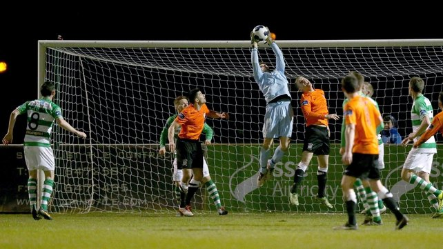 Shamrock Rovers' goalkeeper Barry Murphy claims a high ball