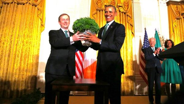 Enda Kenny presented Barack Obama with the traditional St Patrick's Day bowl of shamrock