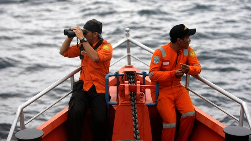 Indonesian Search And Rescue  personnel on a rescue ship heading to the Andaman sea(Pic: EPA)