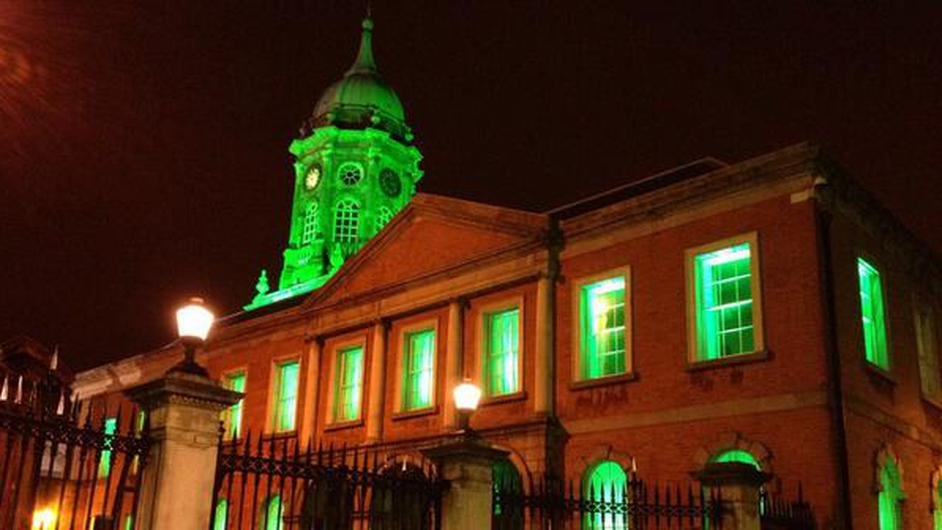 Dublin Castle goes green (Pic: Jim Chandler @Dynamofoe)