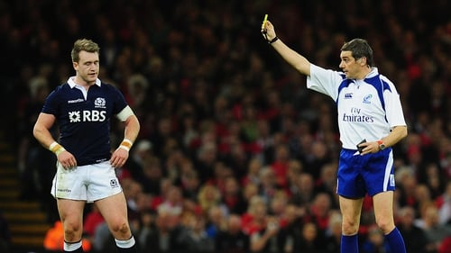 Stuart Hogg was dismissed during the first half in Cardiff