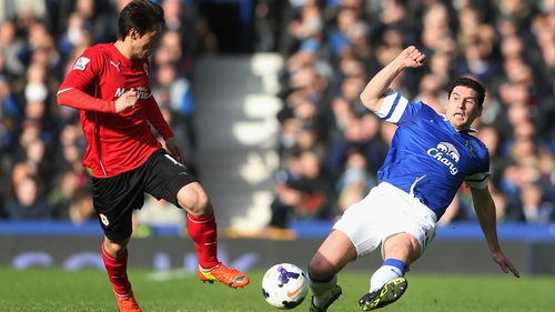 Gareth Barry is unable to play for Everton against parent club Manchester City