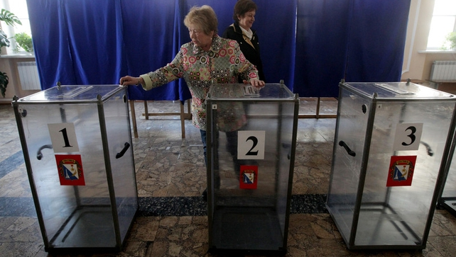 Members of Crimean election commission prepare a polling station in Sevastopol (Pic: Epa)