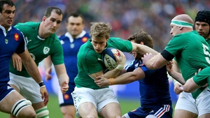 Man of the match contender Andrew Trimble makes a carry
